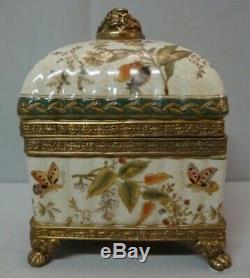 Jewelry Box Butterfly Art Deco Style Art Nouveau Porcelain Bronze