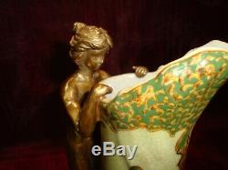 Jug Jug Figurine Flower Art Deco Style Art Nouveau Porcelain Bronze