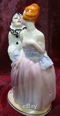 Lamp Figurine Clown Pierrot Pierrette Harlequin Art Deco Style Art Nouveau