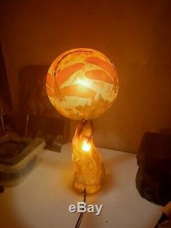 Lamp Pate De Glass, Gallé Style, Art Nouveau Art Deco
