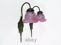 Large Pair Of Wall Appliques Style Art Nouveau Tief Glass Paste Tulip