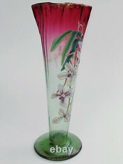 Large Vase Enamelled Art Nouveau, Orchid Decor, In Legras Style