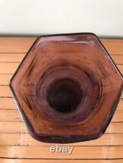 Legras Style Roll Vase In Enamelled Glass Amethyst Art Nouveau 1900