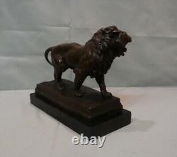 Lion Statue Style Art Deco Art Nouveau Bronze Massive Sign