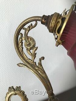 Louis Bronze Adjustable Desk Lamp XVI Style Tulip Glass Paste Nouveau