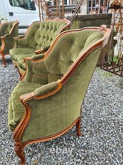 Louis XV Style Lounge / 2 Berger Armchairs And A Bench
