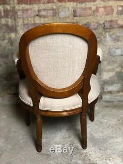 Louis XVI Style Children's Armchair Carved Walnut Covered With Fabric