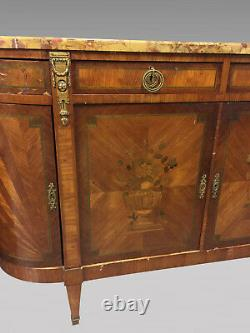 Louis XVI Style Threaded Dining Table Buffet With Gold Bronzes