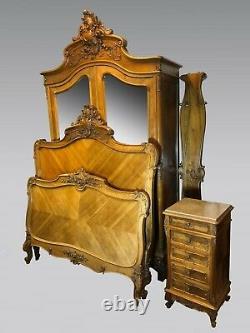 Louis Xv-style Bedroom Walnut 1900 Wardrobe, Bed, Bedside