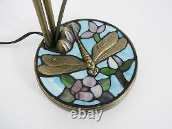 Magnificent Tiffany Two-branch Dragonfly Lamp, 2 Tulips, Art Deco Style