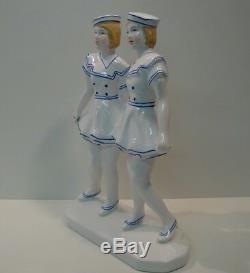 Marin Statue Figurine Navy Girl Style Art Deco Art Nouveau Porcelain