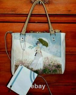 Monet Ladies Leather Bag With Handmade Umbrella In Italy Art Moda Style