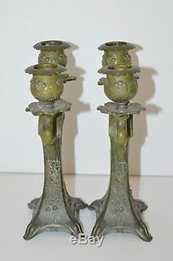 Nice Pair Art Nouveau Candlestick Portraits Style Mucha Regulates Patina Bronze