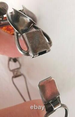 Old Articulated Amber Bracelet In Massive Silver, Signed Mw Style Art Nouveau
