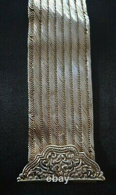 Old Cuff Bracelet Beautifully Decorated Art Nouveau Style In Massive Silver