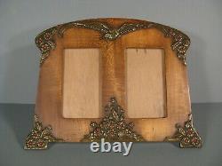 Old Frame Photo Holder Art Nouveau Wood Laiton Decor Flowers And Bird