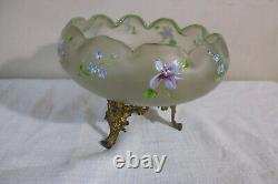 Old Glass Glass Polylobed Flowers Emaillé Bronze Gilded Style Legras Art Nouveau