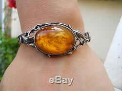 Old Silver Bracelet And Amber Honey 1900 New Style Art