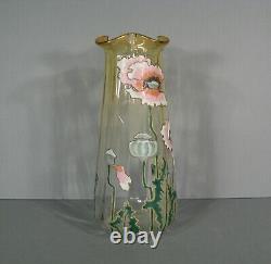 Old Vase Glass Enamelled Art Nouveau Style Decor Poppy Montjoye Legras Pantin