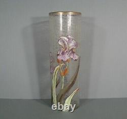 Old Vase Glass Enamelled Art Nouveau Style Iris Montjoye Legras Pantin