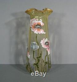 Old Vase Glazed Art Nouveau Decor Poppy Montjoye Legras Pantin