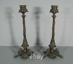 Pair Flames Ancient Bronze Style Art Nouveau Decor Floral Jugendstil