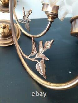 Pair Of Applique Brass In Art Nouveau Style Glass