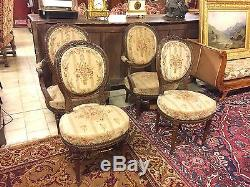 Pair Of Armchairs And Style Medallion Chairs Louis XVI Mahogany Small Point