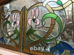 Pair Of Art Nouveau Stained Glass Windows