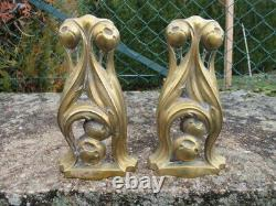 Pair Of Chenet Art Nouveau Bronze Style Hector Guimart Antique French Andiron