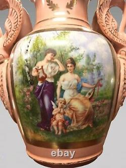 Pair Of Large Porcelain Vases In Empire Style