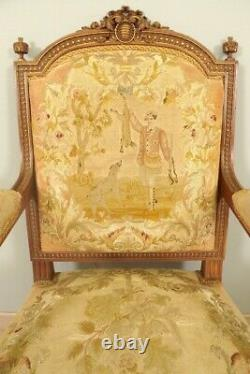 Pair Of Louis XVI Style Armchairs Tapestry Small Dot