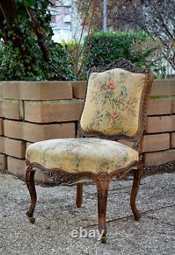 Pair Of Louis Xv-style Chairs In Solid Walnut