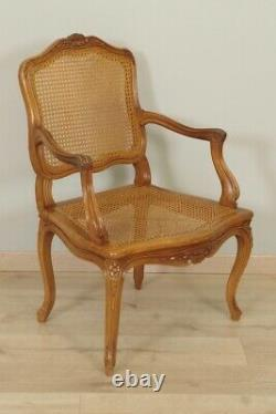 Pair Of Wide Louis Xv-style Cannesy-back Chairs