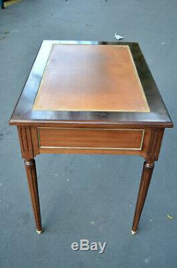Petit Plat Bureau Louis XVI Style Mahogany And Leather Twentieth Time