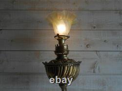 Petrole Bronze Lamp Electrified Art Style New 69cm / Oil Lamp