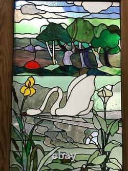 Pine Door With Art Nouveau Landscape Stained Glass