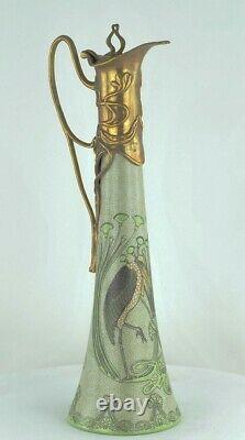 Pitcher Pitcher Bird Marabout Style Art Deco Porcelaine Bronze