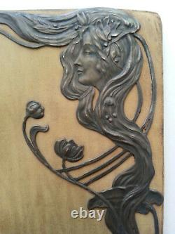 Rare Portefeuille Cuir Femme Decor In Argent Art New Mucha Style
