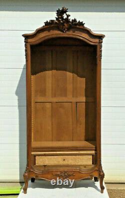 Rococo Style Wooden Cabinet Rock Style Glass Door Walnut Cupboard