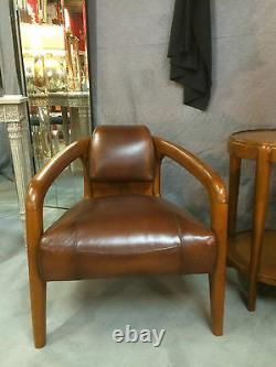 Scandinavian Style Armchairs In Walnut On Leather