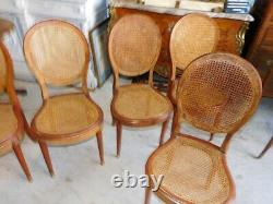Serie Of 6 Chairs Style Louis XVI Cannees