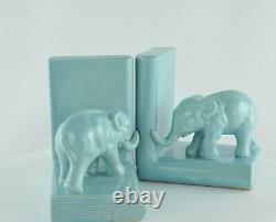 Serre-books Figure Elephants Animalier Style Art Deco Porcelain Emaux