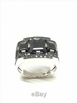 Silver Ring 925/1000 Art Deco Style, Natural Stone, Size 56
