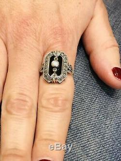 Silver Ring Style Art Deco Onyx Opal And Marcasite