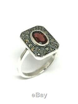 Silver Ring Style Former Art Deco, Marcasite And Garnet