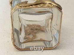Small Quadrangular Vase Gold Metal Mount Style Art Nouveau Ht 8cm