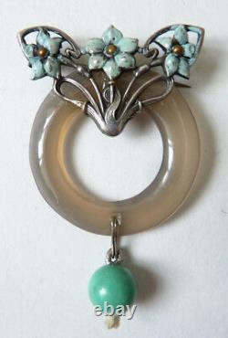 Solid Silver Brooch - Turquoise Art New Modern Style Jugendstil 1900 Silver