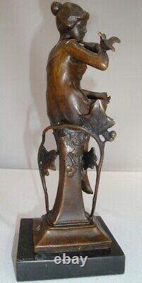 Statue Bird Naked Style Art Deco Style Art Nouveau Massive Bronze Sign