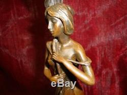 Statue Candlestick Art Deco Style Art Nouveau Bronze Massive Sign